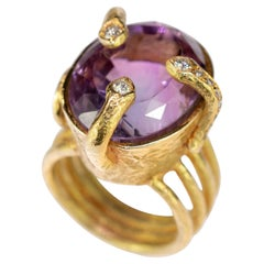Amethyst Diamond 18 Karat Yellow Gold Oval Cut Cocktail Cleopatra Handmade Ring