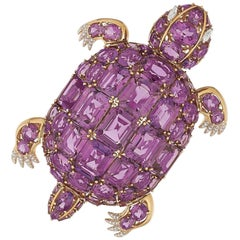 Amethyst and Diamond 18 Karat Gold Turtle Brooch by Michele della Valle