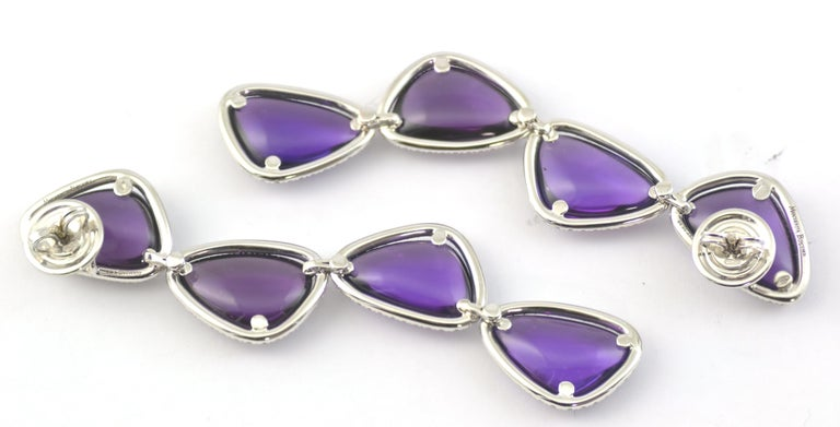 Cabochon Amethysts Single Cut Diamonds 18KT White Gold Earrings In New Condition For Sale In Valenza , IT