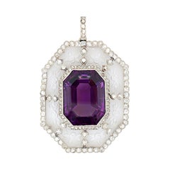 Amethyst Diamond and Rock Crystal Pendant, France, ca. 1910s