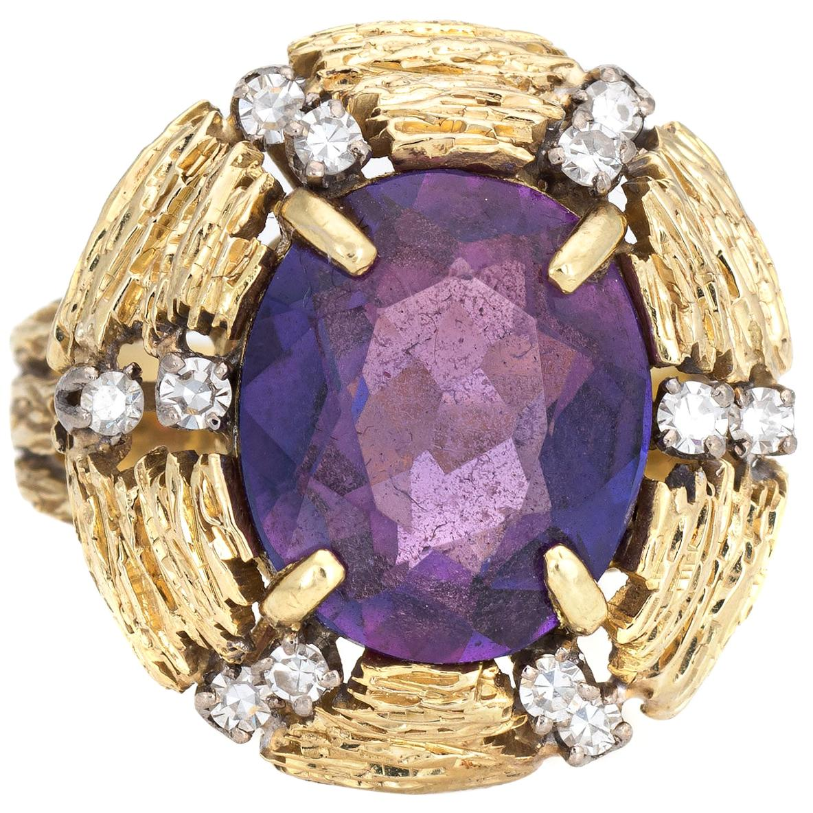 Amethyst Diamond Cocktail Ring Vintage 18 Karat Yellow Gold Estate Fine Jewelry