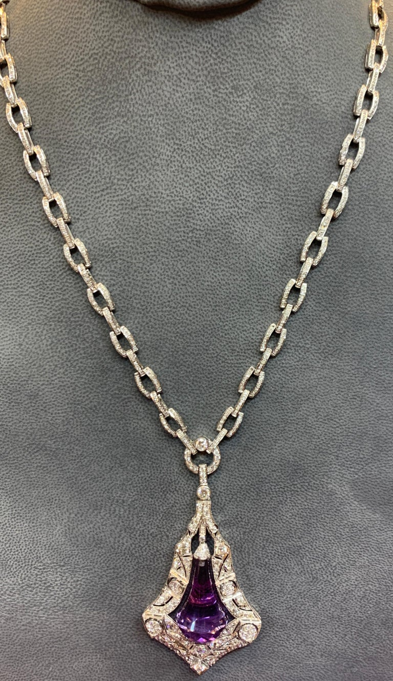 Amethyst & Diamond Drop  Pendant Necklace Length: 26