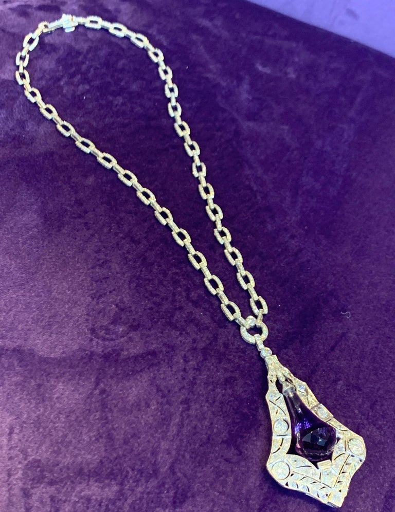 Amethyst and Diamond Drop Necklace For Sale 2