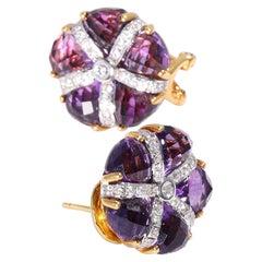 Amethyst Diamond Earrings in 14 Karat Gold