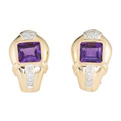 Amethyst Diamond Earrings 18 Karat Gold Clip-On Estate Fine Jewelry Shrimp