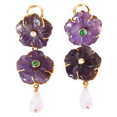 Amethyst Diamond Emerald 18 Karat Gold Earrings