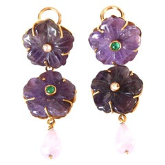 Amethyst Diamond Emerald 18 Karat Gold Earrings