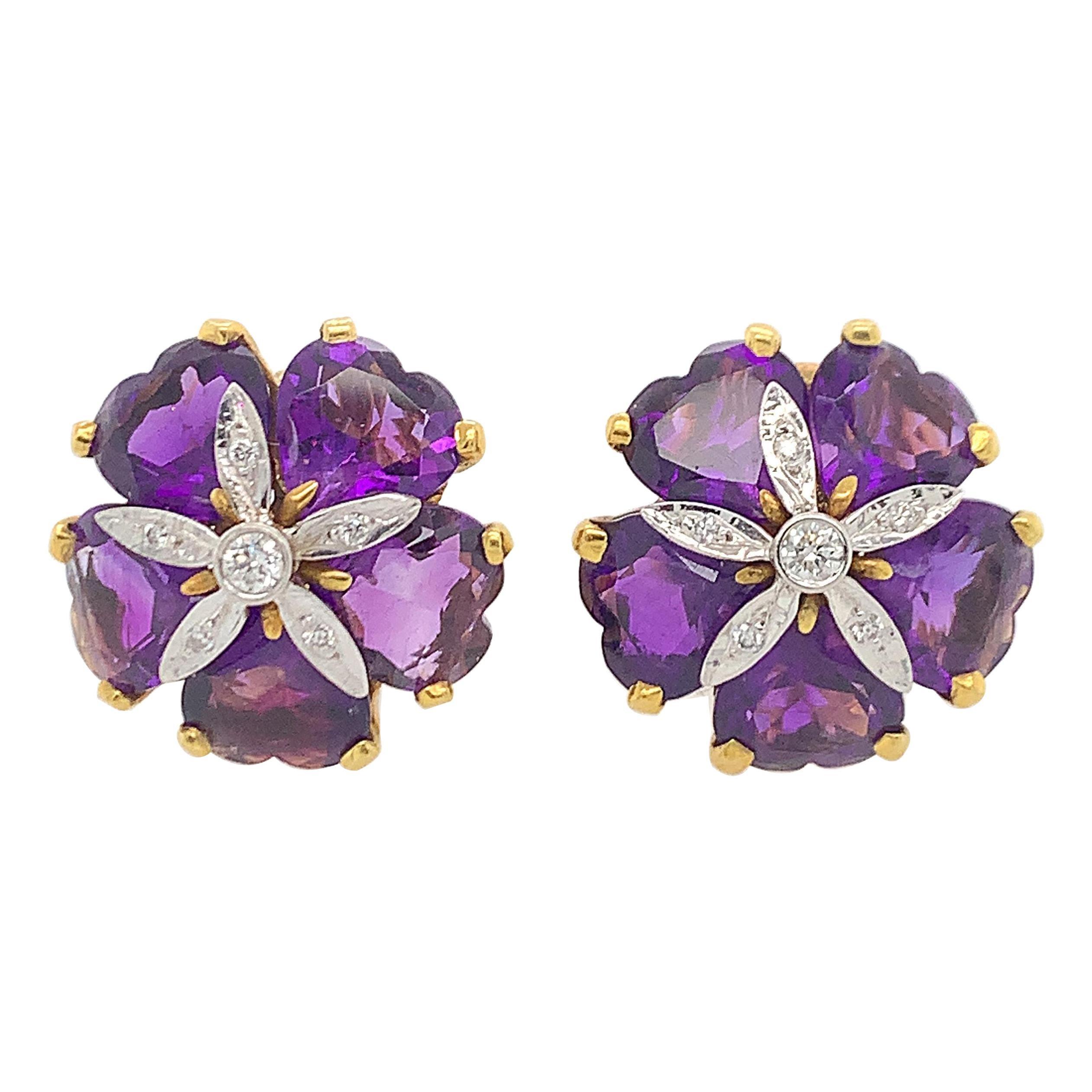Amethyst Diamond Flower Earrings