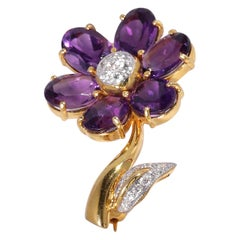 Amethyst, Diamond-Flower in 18 Karat
