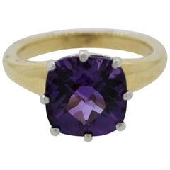 Amethyst Diamond Gold and Platinum Ring