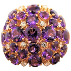 Amethyst Diamond Gold Cluster Cocktail Ring