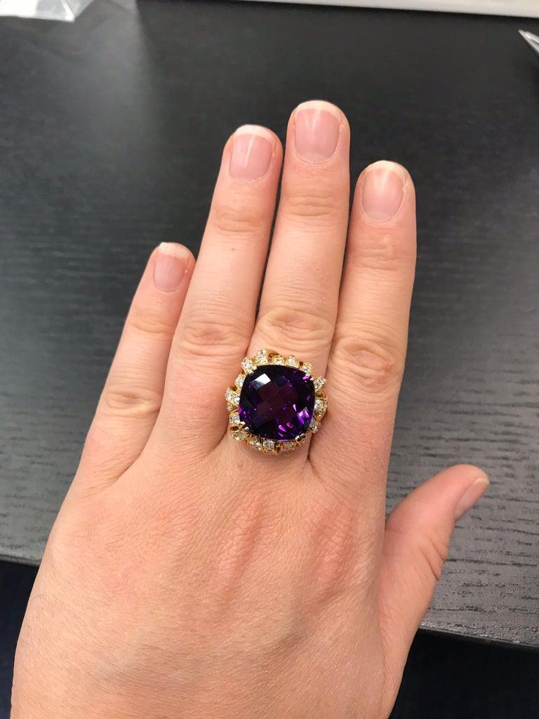 Amethyst Diamond Gold Cocktail Ring 23 Carat 18 Karat Yellow Gold For Sale 5