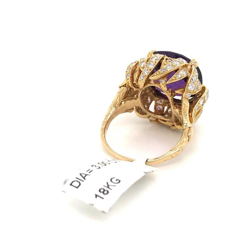 Amethyst Diamond Gold Cocktail Ring 23 Carat 18 Karat Yellow Gold For Sale 2