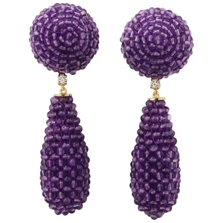 Amethyst Diamond Gold Drop Earrings