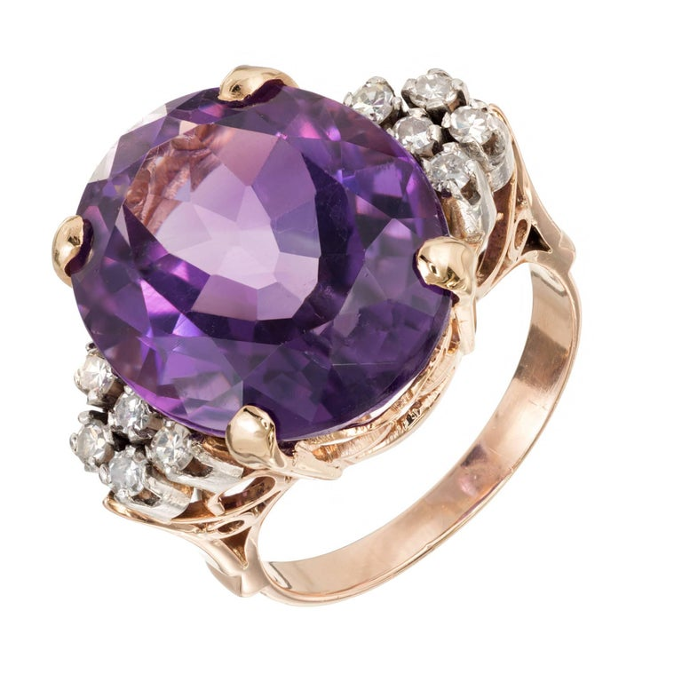 11.50 Carat Oval Amethyst Diamond Gold Platinum Cocktail Ring
