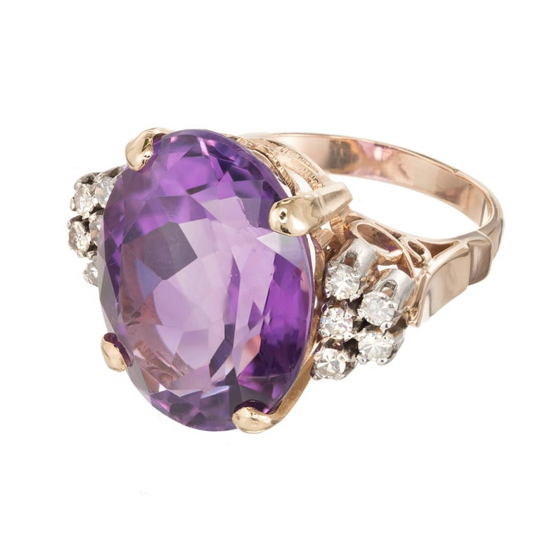 11.50 Carat Oval Amethyst Diamond Gold Platinum Cocktail Ring In Good Condition For Sale In Stamford, CT