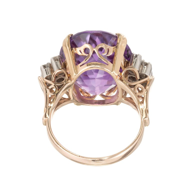 Women's 11.50 Carat Oval Amethyst Diamond Gold Platinum Cocktail Ring For Sale