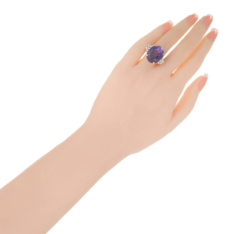 11.50 Carat Oval Amethyst Diamond Gold Platinum Cocktail Ring For Sale 1