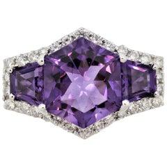 Amethyst Diamond Gold Ring