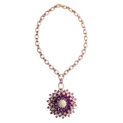 Amethyst Diamond on Pink Gold Necklace