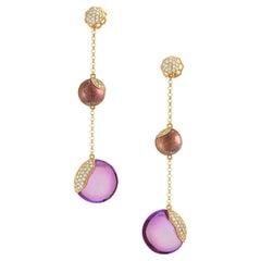Amethyst Diamond Pavé Rose Gold Dangle Drop Earrings