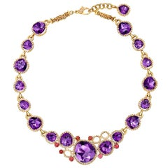 Amethyst Diamond Pink Tourmaline Gold Necklace