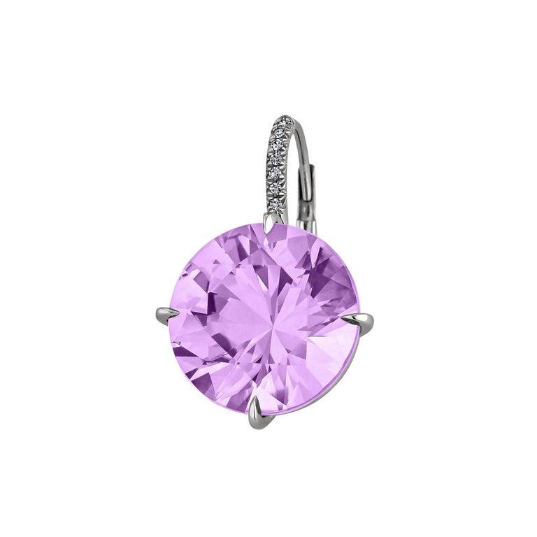 Round Cut Amethyst Diamond Platinum Drop Earrings For Sale