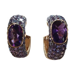 Amethyst Diamond Purple Sapphire 18 Karat Lever-Back 18 Karat Gold Earrings