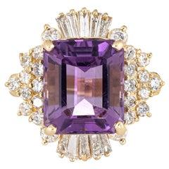 Amethyst Diamond Ring Vintage 14 Karat Gold Large Cocktail Ballerina Jewelry
