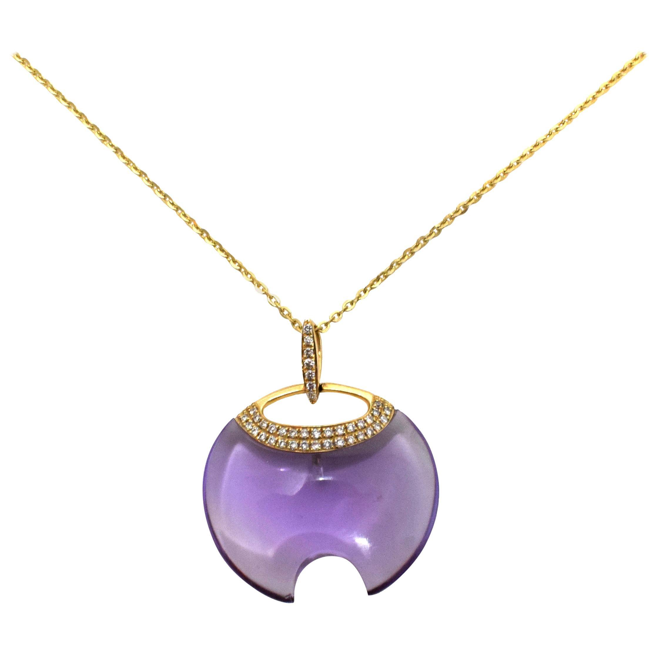 Amethyst Diamond Round Pendant Necklace