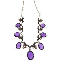 Amethyst Diamond Silver Gold Necklace