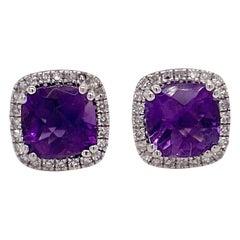 Amethyst Diamond Studs Earrings, Halo of Diamonds, White Gold, Cushion Amethyst