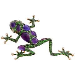 Amethyst Diamond Tsavorite 18 Karat White Gold Statement Funny Frog Brooch
