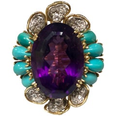 Amethyst Diamond Turquoise Cocktail Ring in Yellow Gold, 1980s