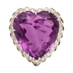 Amethyst Diamond Yellow and White Gold Heart Ring