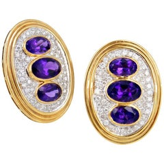 Amethyst Diamond Yellow Gold Clip Earrings