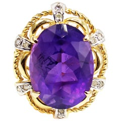 Amethyst Diamond Yellow Gold Ring