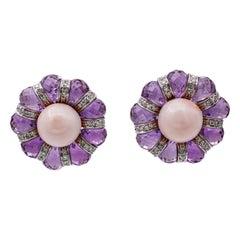 Amethyst, Diamonds, Coral, 18 Karat White Gold Stud Earrings