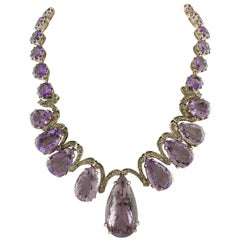 Amethyst  Diamonds Rose Gold and Silver Drop Necklace