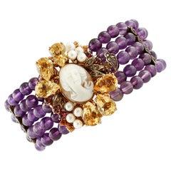 Amethyst, Diamonds, Topazes, Garnets, Cameo, Pearls 9Kt Gold and Silver Bracelet