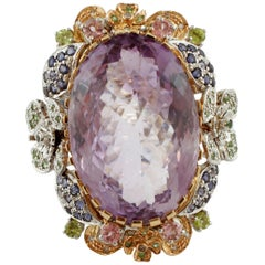 Amethyst, Diamonds,Tourmalines,Tsavorites,Iolite, 14 Kt White and Rose Gold Ring