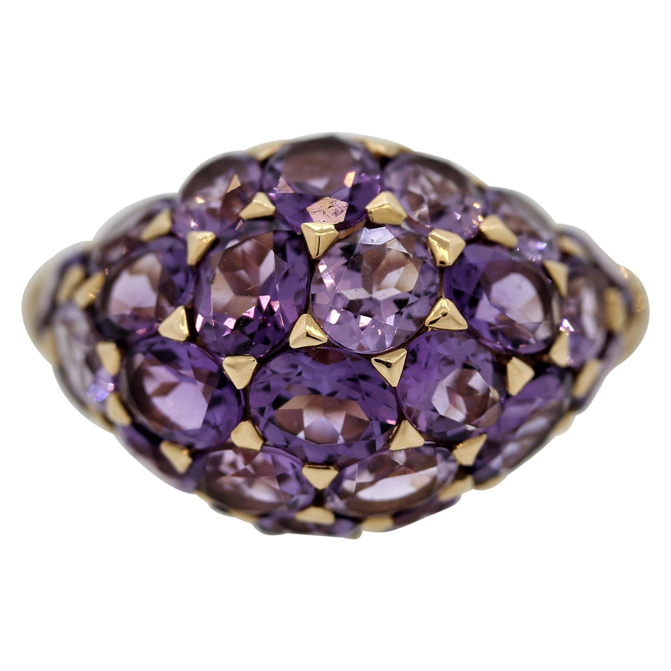 Amethyst Dome Gold Ring