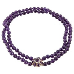 Amethyst Double Bead Necklace with Diamond Clasp