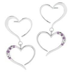 Amethyst Double Heart Pave Dangle Earrings