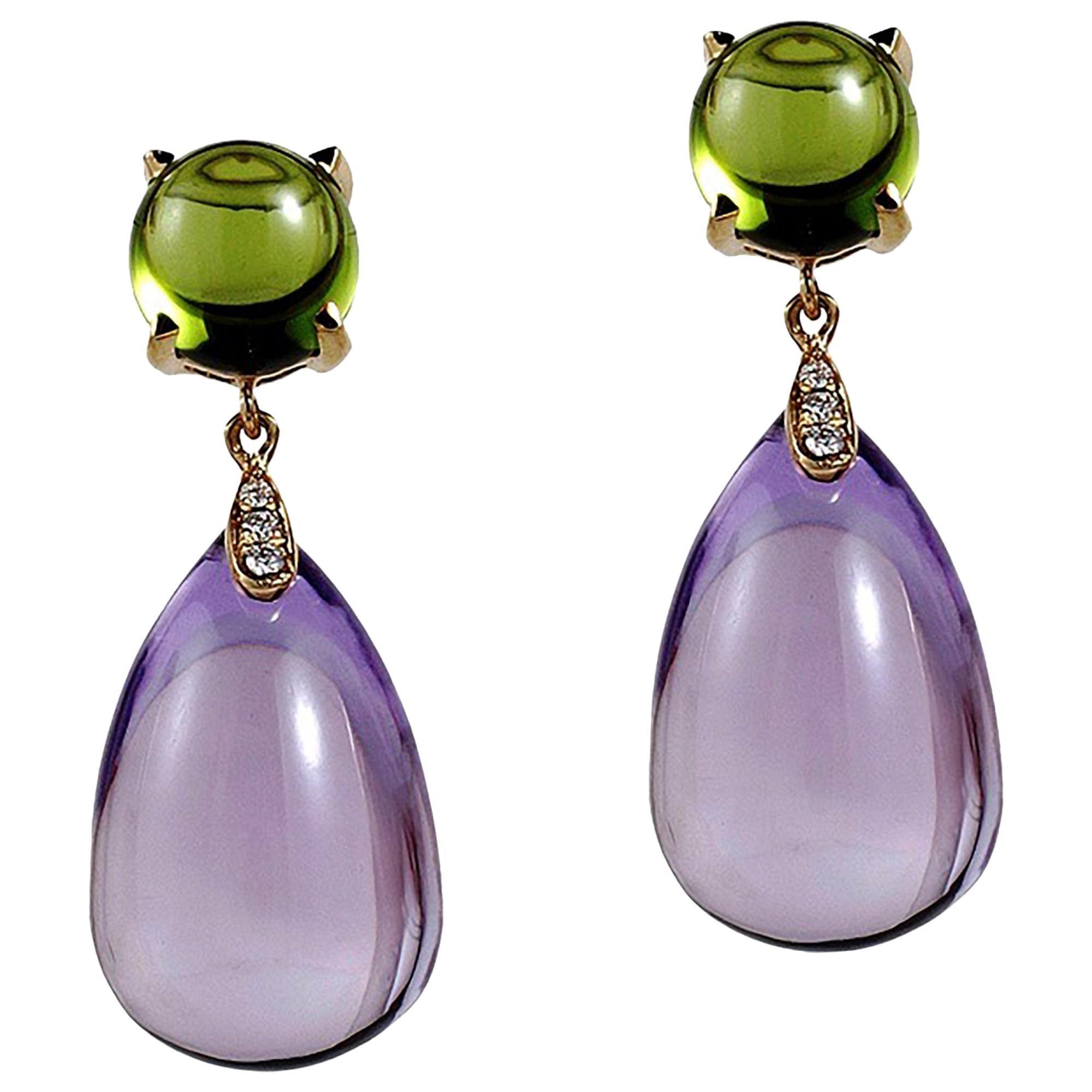 Goshwara Amethyst Drop With Peridot Cabochon And Diamond Earrings
