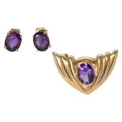 Amethyst Earrings & Pendant Set