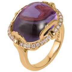 Goshwara Cushion Cabochon Amethyst And Diamond Ring