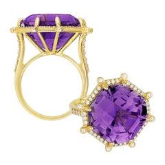 Goshwara Amethyst Emerald Cut Ascher And Diamond Ring