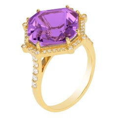 Goshwara Emerald Cut Amethyst Asscher And Diamond Ring