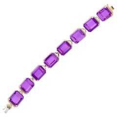 Goshwara Emerald Cut Amethyst And Diamond Bracelet